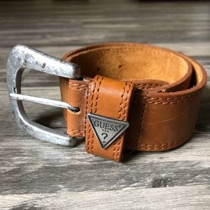 "Guess Camel Brown Genuine Leather 30"" Belt"